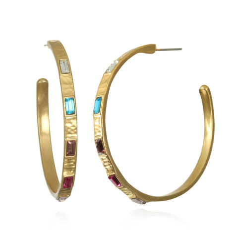 Rainbow Baguette Hoop Earrings