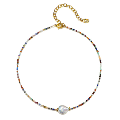 Rainbow Beaded Choker Necklace