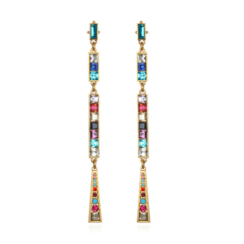 Rainbow Mosaic Drop Earrings