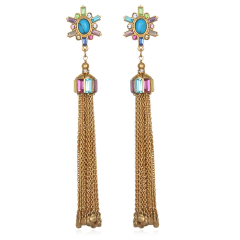 Rainbow Starburst Tassel Earrings
