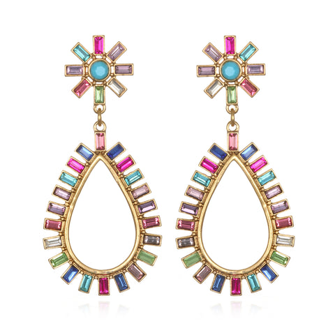 Rainbow Starburst Teardrop Earrings