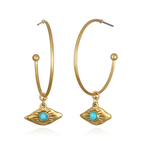 Ray of Light Evil Eye Charm Hoop Earrings