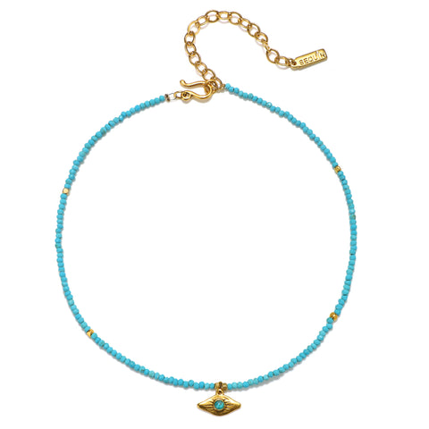Ray of Light Evil Eye Turquoise Beaded Choker Necklace