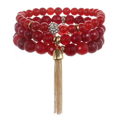 Red Color Karma Bracelet Set