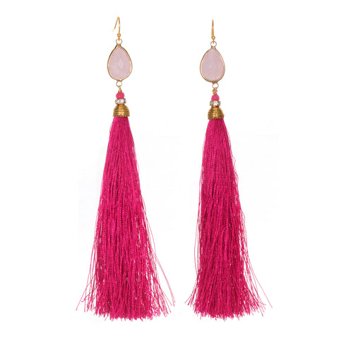 Rose Quartz Pink Tassel Earrings