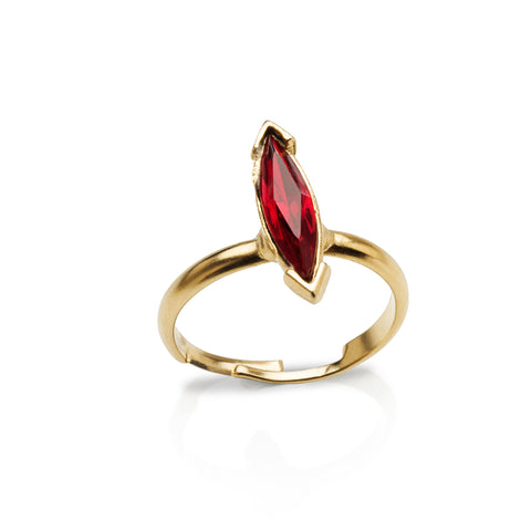 Ruby Red Marquise-Cut Gem Ring