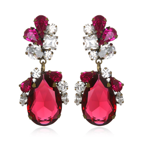 Ruby Juicy Crystal Drop Earrings