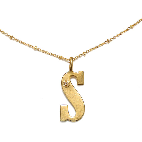 """S"" Block Initial Talisman Necklace"