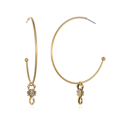 Scorpio Zodiac Hoop Earrings