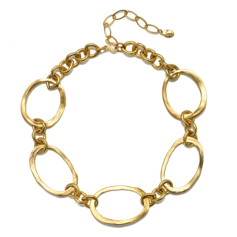Sculpted Gold Link Necklace