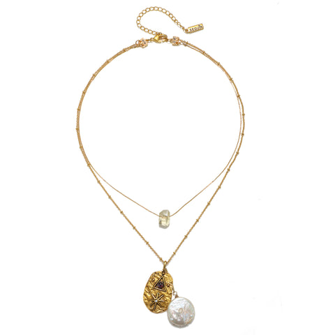 Séance Citrine & Pearl Layered Necklace