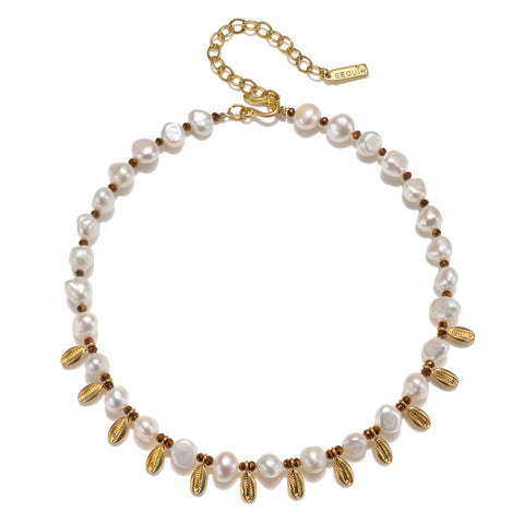 Serena Freshwater Pearl & Cowrie Necklace