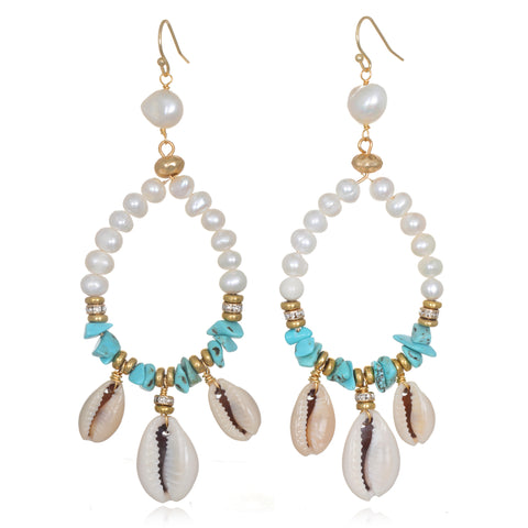 Serenity Cowrie & Pearl Earrings