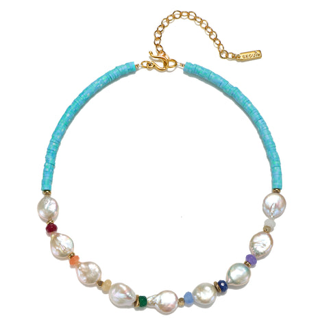 Seven Chakras Pearl & Turquoise Choker Necklace