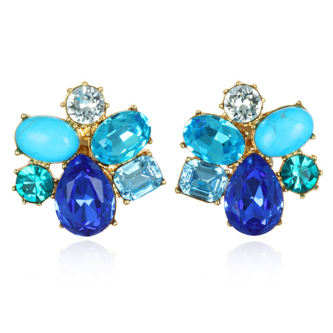 Shades of Blue Jeweled Cluster Earrings