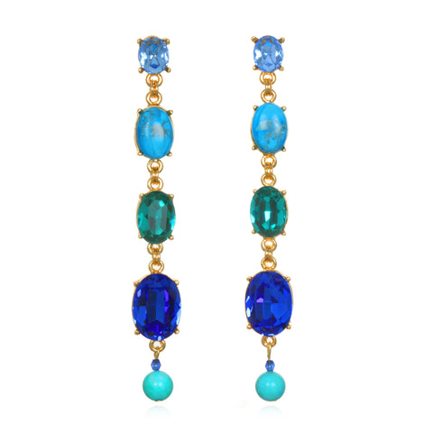 Shades of Blue Jeweled Drop Earrings