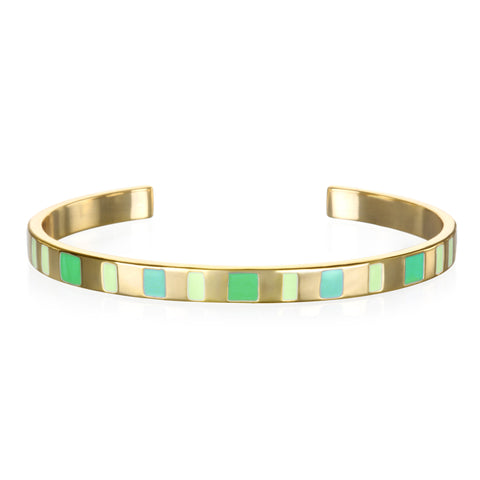 Shades of Green Enamel Cuff