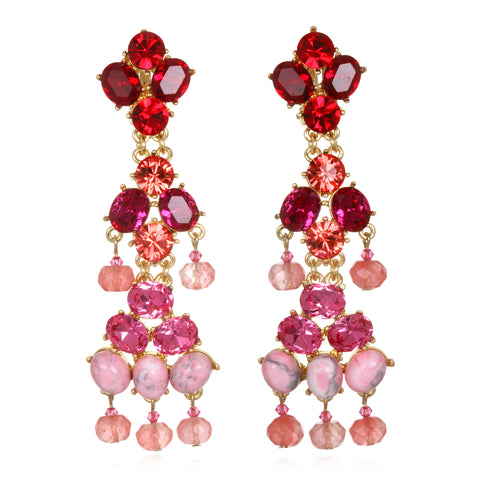Shades of Pink Jeweled Chandelier Earrings