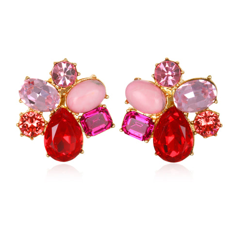 Shades of Pink Jeweled Cluster Earrings