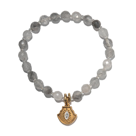 Shield Evil Eye Grey Color Karma Bracelet