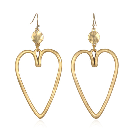 Silhouette Heart Drop Earrings