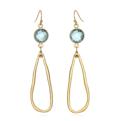 Sky Blue Gem Drop Earrings