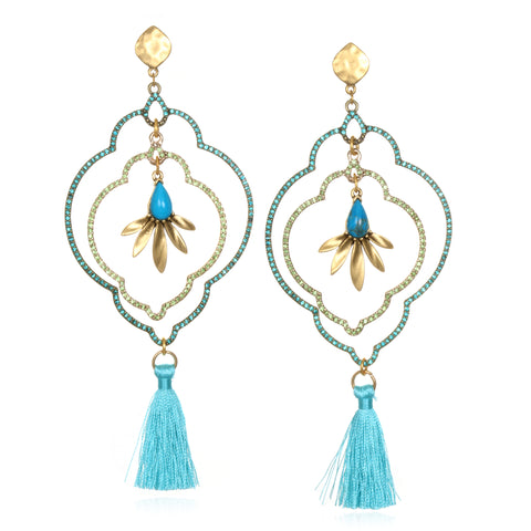 Sky Blue Samba Tassel Earrings