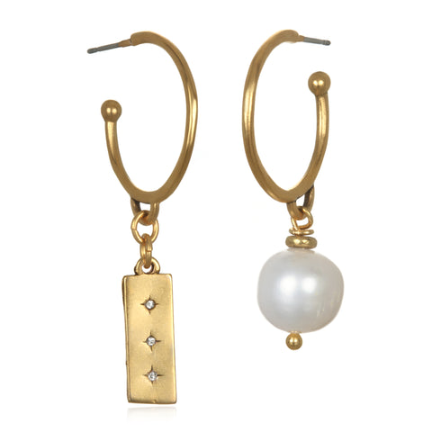 Star & Pearl Asymmetrical Earrings