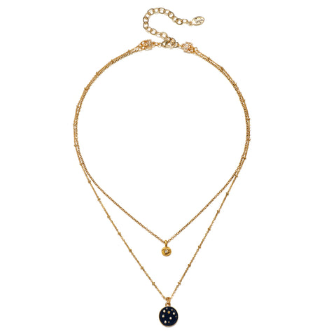 Starry Night 2-Strand Enamel Talisman Necklace