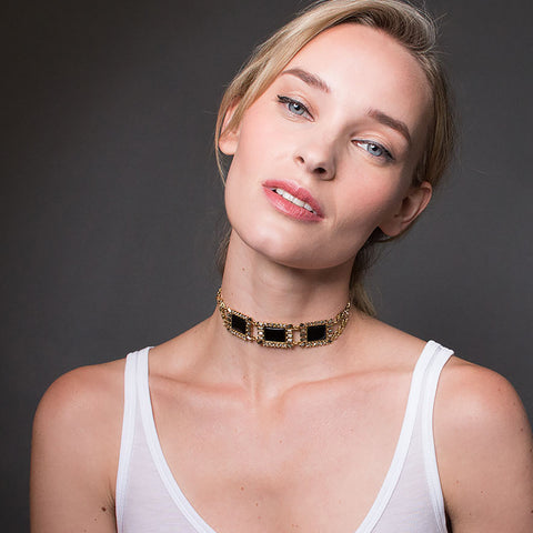 Antoinette Choker Necklace - Black Onyx