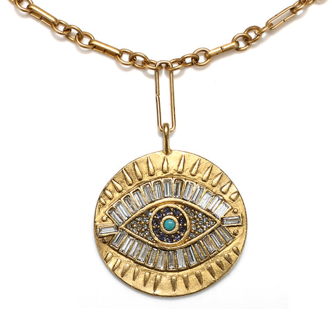 Super Evil Eye Talisman Medallion Necklace
