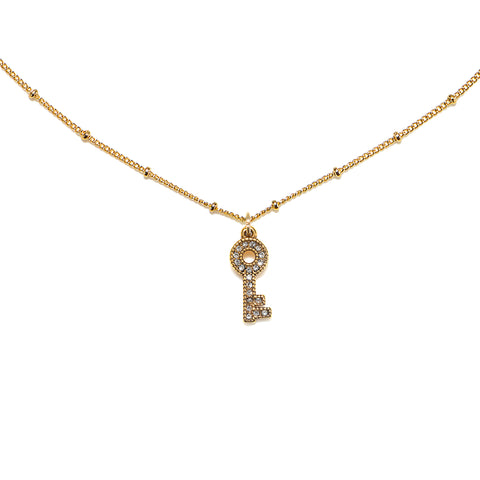 Mini Pave Key Talisman Necklace