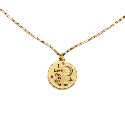 """I Love You To The Moon"" Talisman Charm Necklace"