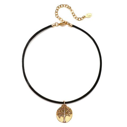 Tree of Life Talisman Choker Necklace - Suede Cord