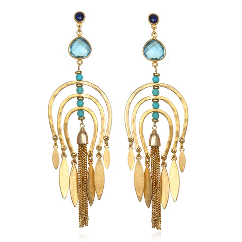 Turquoise Cascade Chandelier Earrings