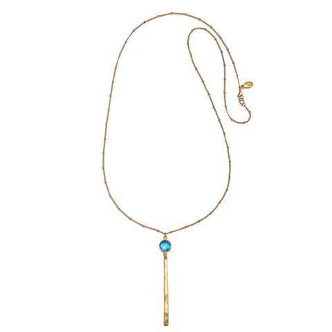 Turquoise Color Karma Pendant Drop Necklace