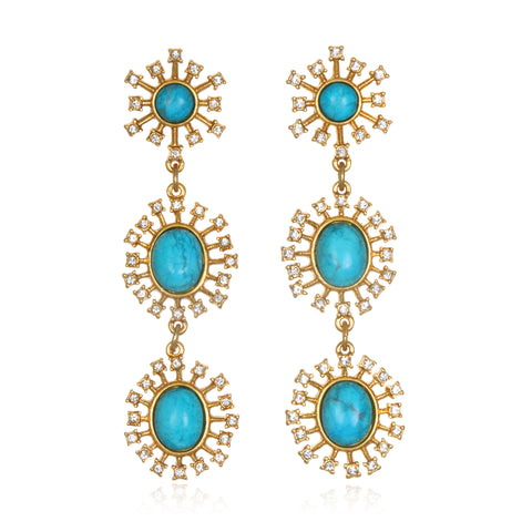 Turquoise Sky Triple Drop Earrings