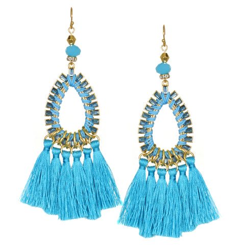 Turquoise Statement Tassel Earrings