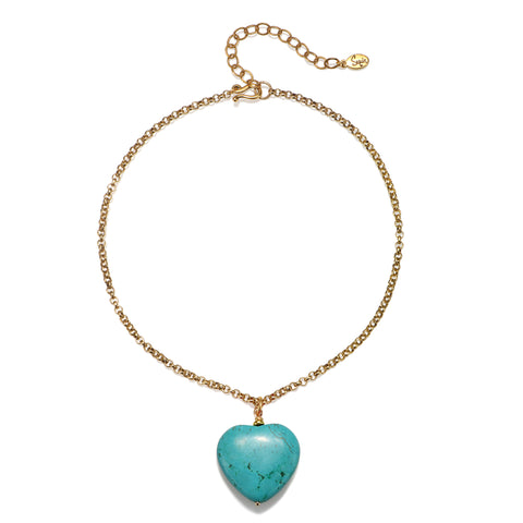 Turquoise Stone Heart Choker Necklace
