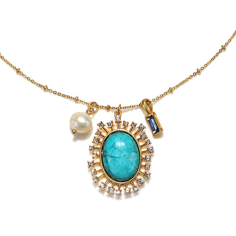 Turquoise Supermoon Charm Necklace