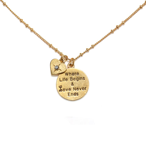 """Where Life Begins"" Talisman Charm Necklace"
