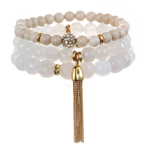 White Color Karma Bracelet Set