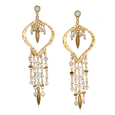 White Ibiza Chandelier Earrings