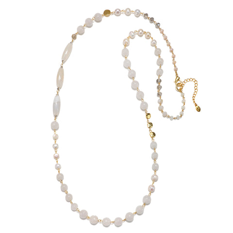 White Semi-Precious Strand Necklace