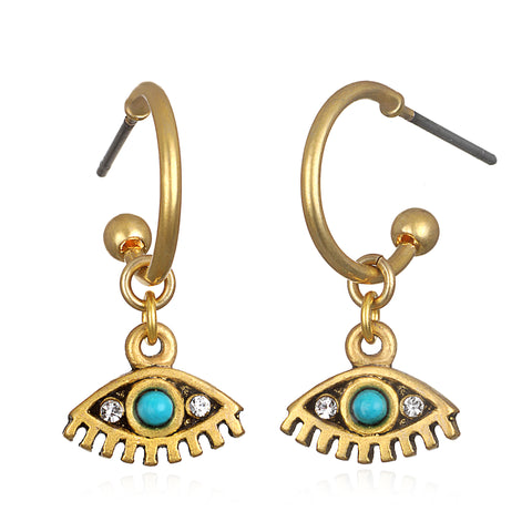 Winking Evil Eye Small Charm Hoop Earrings