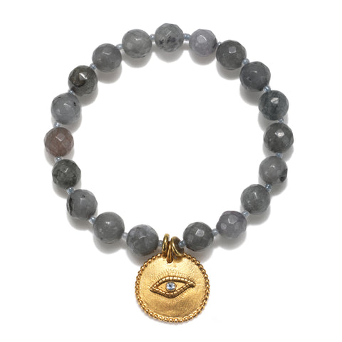 Wise Evil Eye Grey Color Karma Bracelet