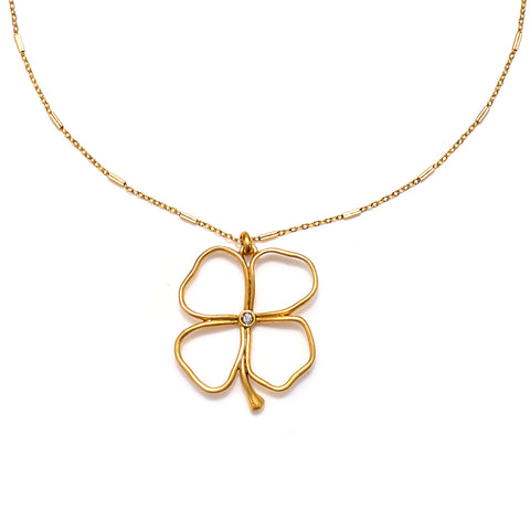 Open 4-Leaf Clover Mystic Talisman Necklace