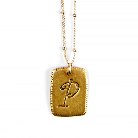"""P"" Smooth Initial Necklace"