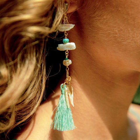 Aqua Daydream Tassel Earrings