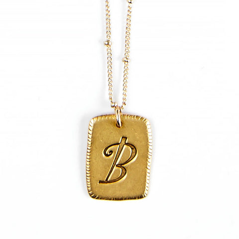 """B"" Smooth Initial Necklace"